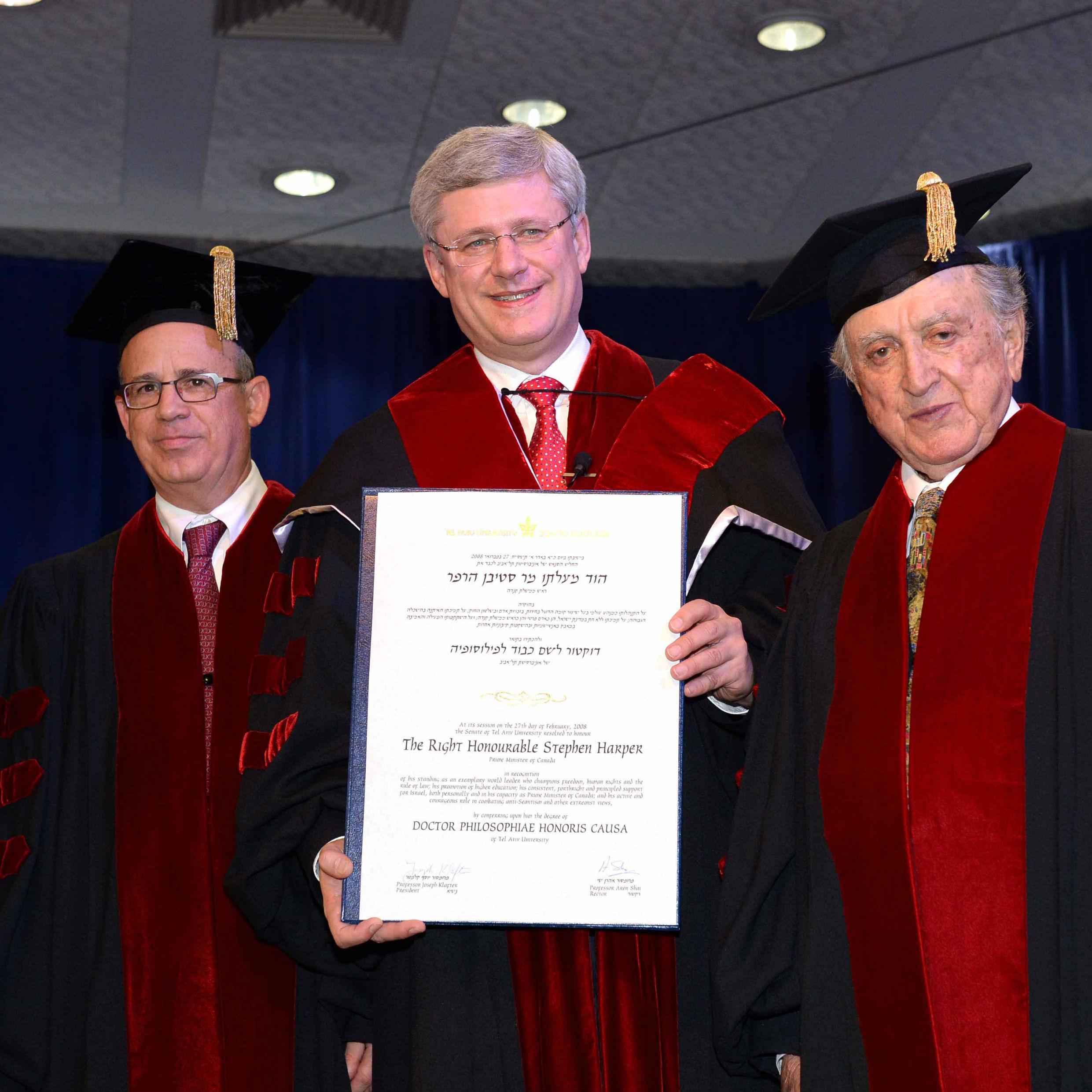 ראש ממשלת קנדה, סטיבן הארפר, קיבל תואר דוקטור לשם כבוד מטעם אוניברסיטת תל-אביב