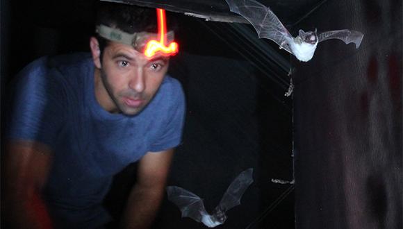Prof. Yossi Yovel using a sonar to communicate with bats