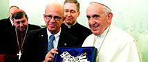 פגישה מרגשת של משלחת בינלאומית של תומכי אוניברסיטת תל אביב עם האפיפיור פרנציסקוס