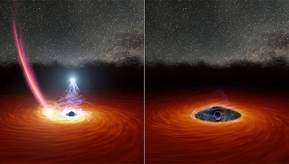 """משמאל: שרידיו של כוכב סורר שנקרע ע""""י החור השחור מתרסקים על הדיסקה, בזמן שהאזור החם שמעליה עדיין קורן בקרינת רנטגן. מימין: הכוכב שהתרסק הפריע לדיסקת הגז, וגרם להשבתת קרינת הרנטגן. קרדיט: Robert Hurt, NASA /JPL"""