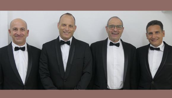 """מימין לשמאל: רון יוגב, פרופ' מאיר פדר, ד""""ר צבי רזניק וגיא דורמן"""