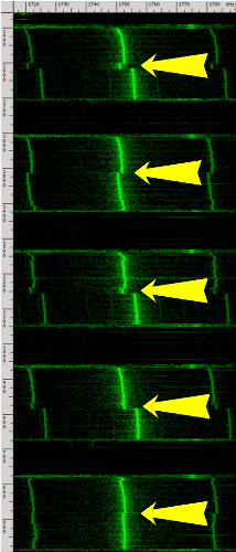spectrogram of multiple GnuPG RSA decryptions